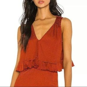 NWT Free People Satin Ribbed Cropped Ruffle Top